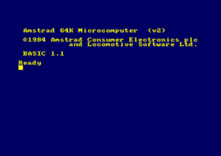 Amstrad CPC 664 bootscreen, Firmware v2 and BASIC 1.1.