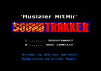 Soundtrakker Title screen. Choose between the Editor or the Compiler.