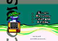Main menu of the Croco Channel 3 compilation. The bottle on the left was painted by Fafa. (2002)
