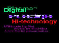 The intro screen of my onescreener part for High Technology by AST System. It feature mode 1 and 2. Note that this demo is completly finished. (Unreleased) (1997)