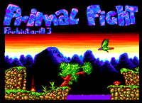 My first ever fullscreen picture. That was supposed to be the intro screen for Primal fight by AST System. The primal fight logo at the top is greatly inspired by Made (From his Crystal slide show) (Unreleased) (1996)